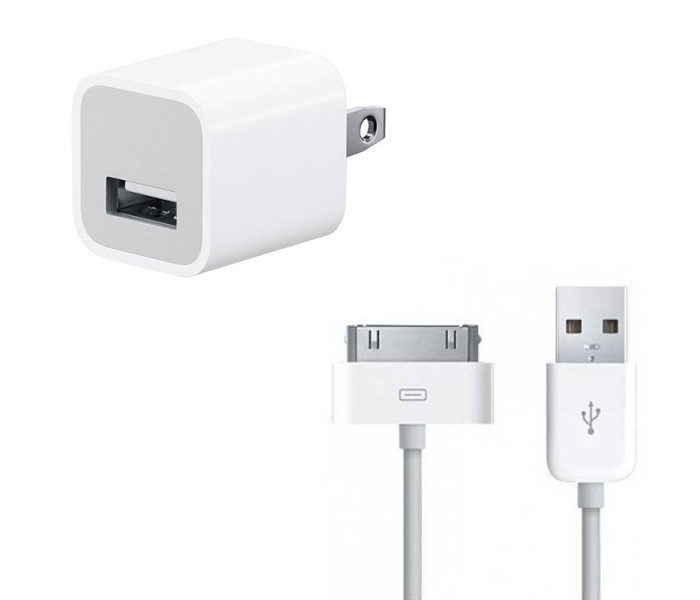 iPhone Power Adapter + 30-pin Cable